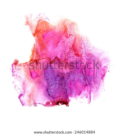 abstract Lilac, orange, pink drawing stroke ink watercolor brush water color splash paint watercolour background - stock photo