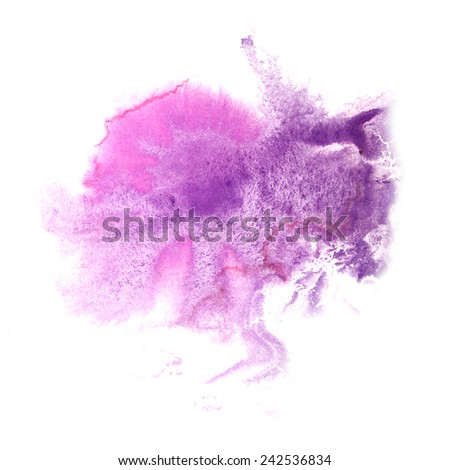 abstract Lilac, pink drawing stroke ink watercolor brush water color splash paint watercolour background - stock photo