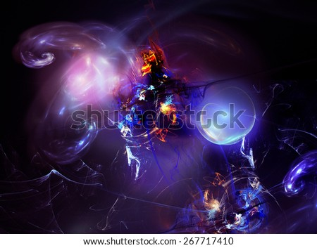 Abstract lilac-purple fractal background - stock photo