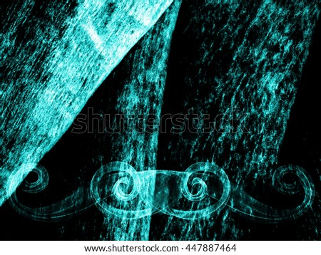 abstract line ornament vignette fantasy background gradient cyan colored - stock photo