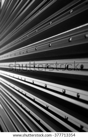 abstract line up of aluminum profile for background used