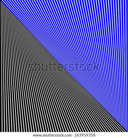 abstract lines twisted illusion black and blue - stock photo