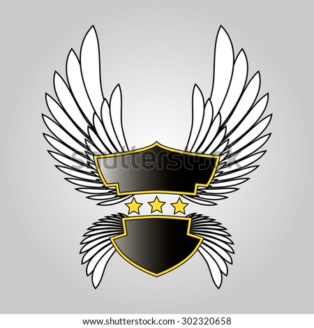 abstract logo shield, stars and wings