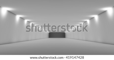Abstract long empty white tunnel interior with soft lights. Digital 3d illustration - stock photo