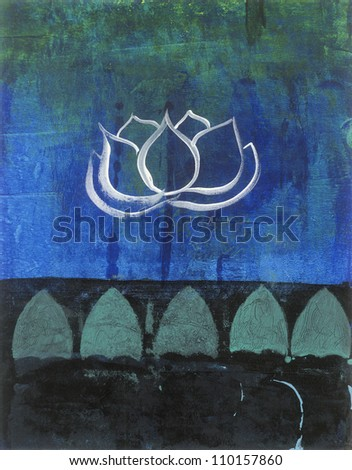Abstract lotus blossom painting. - stock photo