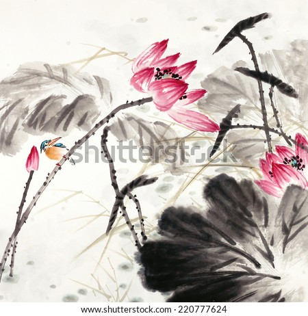 abstract lotus-Traditional Chinese Painting.  - stock photo