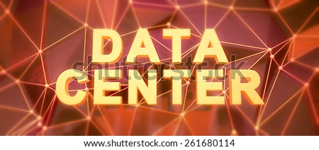 Abstract low-poly background. Word concept. Text data center. 3d render. - stock photo