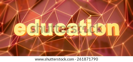 Abstract low-poly background. Word concept. Text education. 3d render. - stock photo