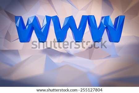 Abstract low-poly background. Word concept. Text WWW. 3d render. - stock photo