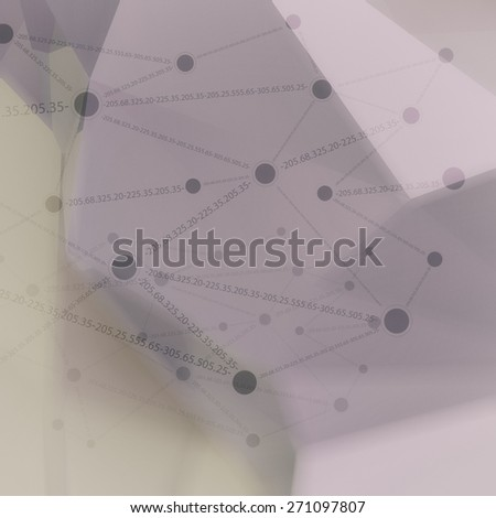 Abstract low poly geometric with social media network diagram background