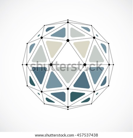 Abstract low poly object with black lines and dots connected. Monochrome 3d origami futuristic form with black overlapping lines mesh.