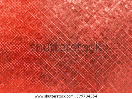 Abstract Luxury Shiny Red Tone Wall Flooring Tile Glass Seamless Pattern Mosaic Background Texture for Furniture Material. Art Square Seamless Pattern with Shade for Modern Interior Design Style - stock photo