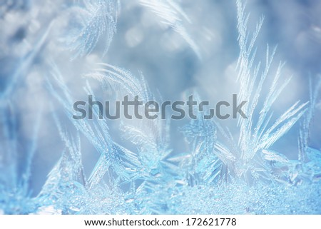 abstract macro of frost crystals - stock photo