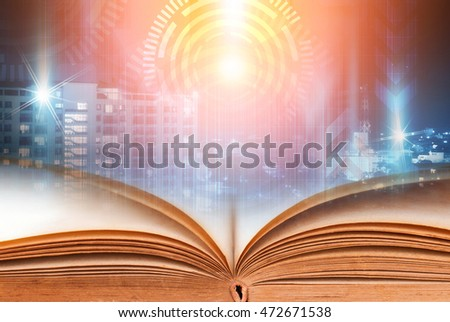 Abstract magic book on technology background