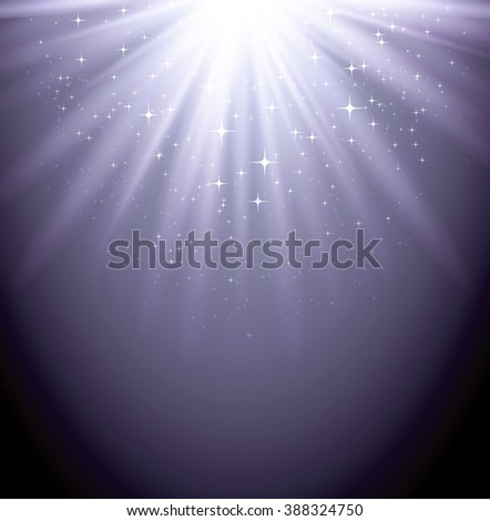 Abstract  magic light backgroud with star. Shiny light background. Silver magic light - stock photo