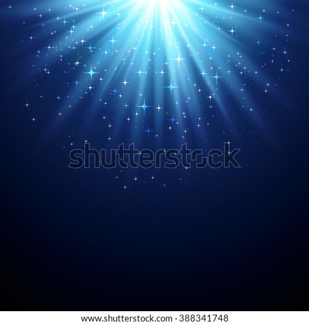 Abstract  magic light background with star. Shiny light background. Blue magic light - stock photo