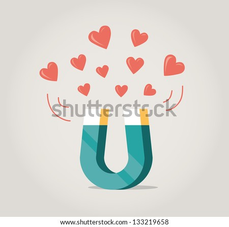 Abstract magnet attracting love hearts. Concept for love at first sight, mutual love. - stock photo