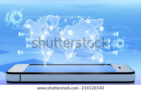 Abstract mail map city point projected from the phone screen - stock photo