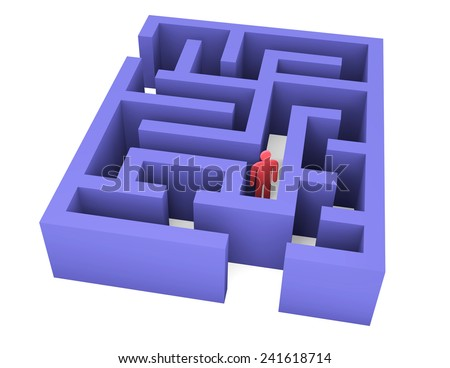 Abstract man can not get out of the maze - stock photo