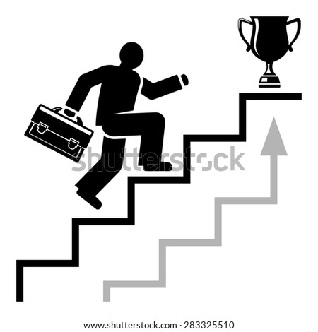 Abstract man quickly moves on career stairs towards his business success. Raster version - stock photo
