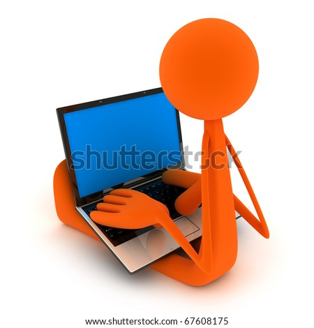 Abstract man sit the laptop (isolated, done in 3d) - stock photo