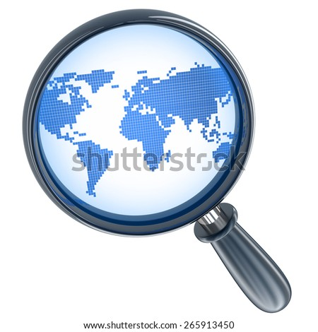 Abstract map and lens of search is in the system  (done in 3d)   - stock photo