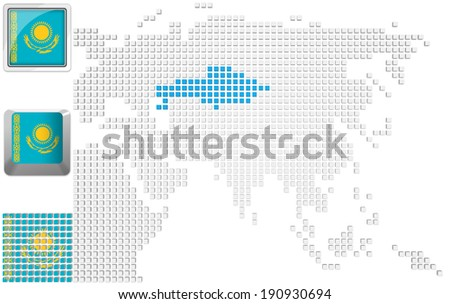 Abstract map of Asia with highlighted Kazakhstan and national flag - stock photo