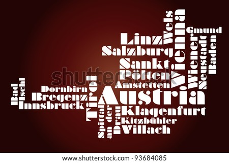 abstract map of Austria - word cloud - stock photo