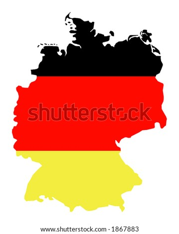 abstract map of germany isolated on white background, colors of germany: black, red, gold