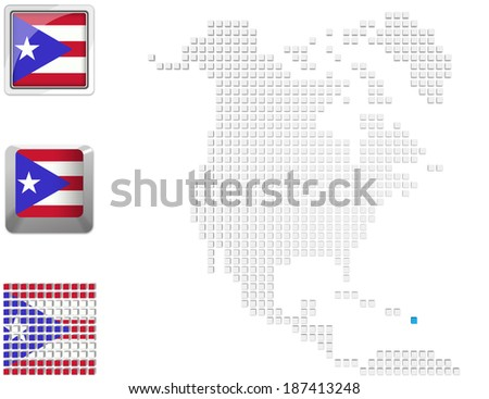 Abstract map of north america with highlighted Puerto Rico and national flag