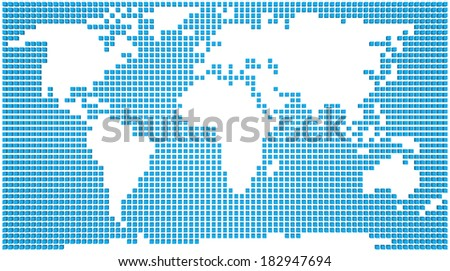 Abstract map of the world made of blue boxes