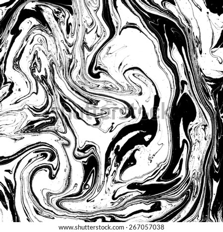 Abstract marble texture. Black and white background. Handmade technique. - stock photo