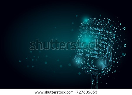 Abstract mash line and point image of a microphone. Vintage microphone wireframe concept