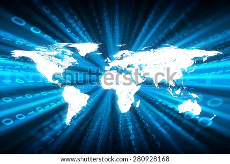 Abstract matrix blue background with numbers, world map and business words