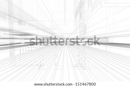 Abstract matrix wireframe space - stock photo