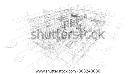 Abstract matrix wireframe space. 3D wireframe of building.
