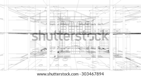 Abstract matrix wireframe space. 3D wireframe of building. - stock photo