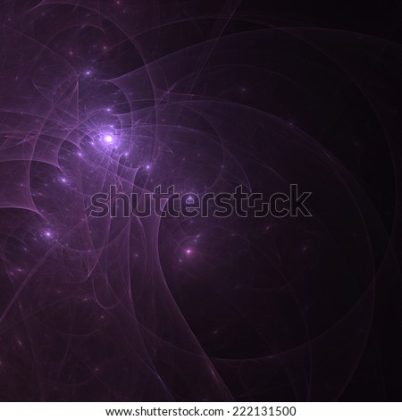 Abstract mauve fractal shapes on black background - stock photo