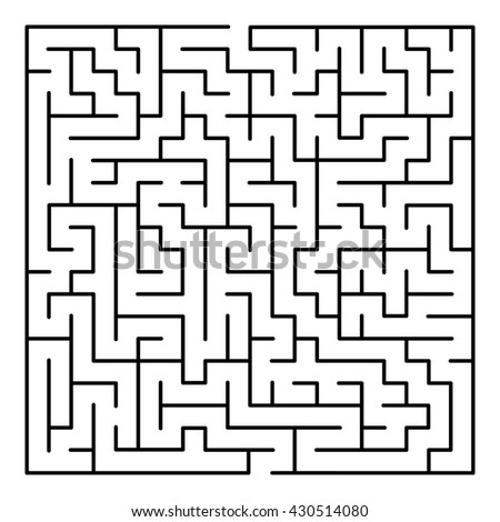 Abstract Maze Labyrinth pattern on White Background.  - stock photo