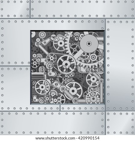 Abstract Mechanism Backdrop. Ready for Your Text and Design. - stock photo