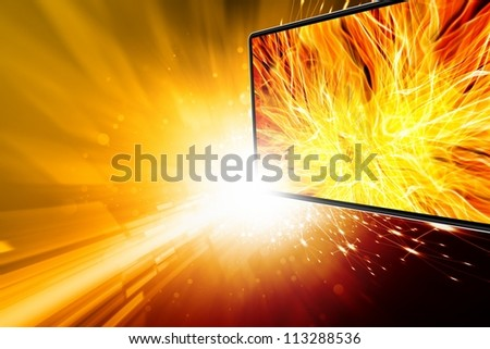 Abstract media background - illustration of widescreen tv, flame, explosion