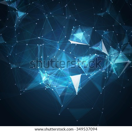 Abstract mesh background with circles, lines and shapes. Futuristic Design - stock photo