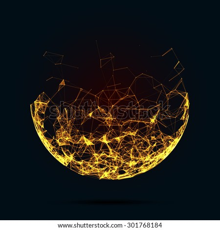 Abstract mesh spheres. Futuristic technology low poly style. Elegant dots background for business presentations. Flying debris lines. Illustration  - stock photo
