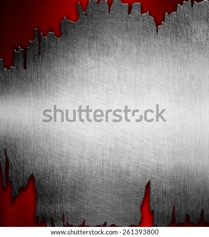 Abstract metal background red and silver - stock photo
