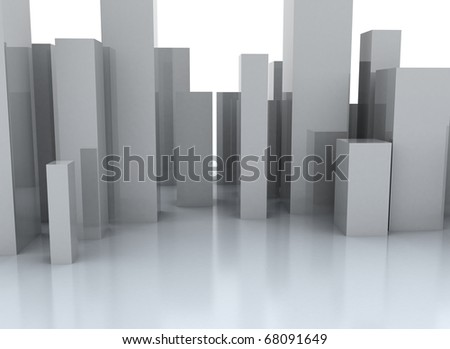 Abstract metal cubic surface - abstract city