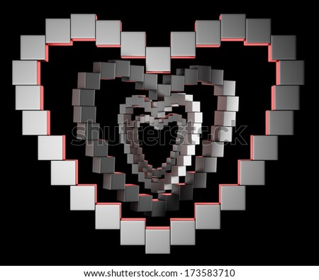Abstract metal heart collected from cubes on black background. 3d illustration - stock photo