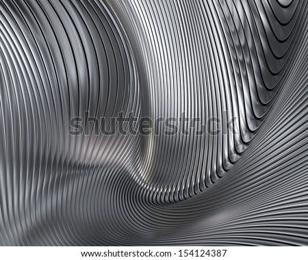 Abstract metallic architectural wallpaper. Elegant geometric chrome background design