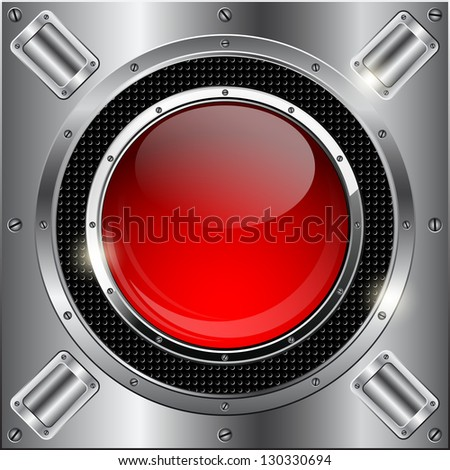 Abstract metallic background with glass button. Raster version of vector illustration. - stock photo
