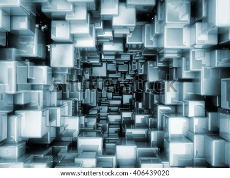 Abstract metallic 3d cubes glossy boxes. 3D rendering - stock photo