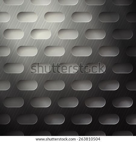 abstract metallic grate with rounded holes. industrial background design - stock photo